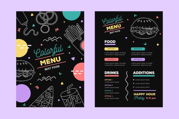Diseño artístico para plantilla de menú de restaurante.