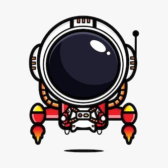 Diseño de un astronauta conduciendo un jetpack