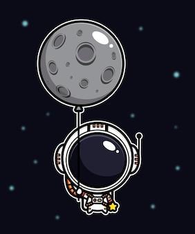 Diseño de un astronauta volando con un globo lunar