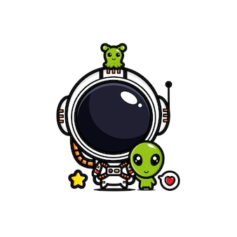 Diseño de astronautas amigos con extraterrestres