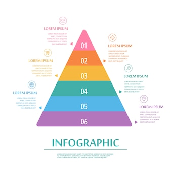 Diseño atractivo de plantilla de infografía con elementos piramidales