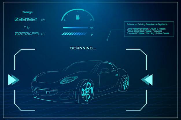 Diseño automotriz sedán azul