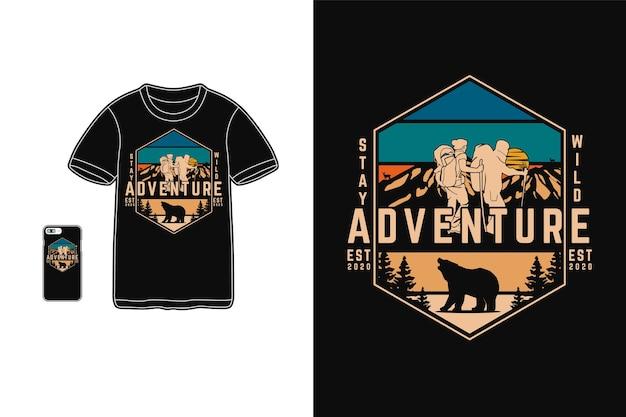 Diseño de aventura para camiseta estilo retro silueta