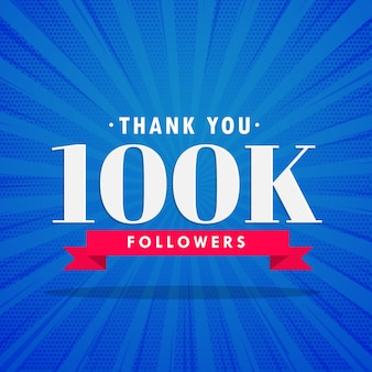Diseño azul de 100k seguidores