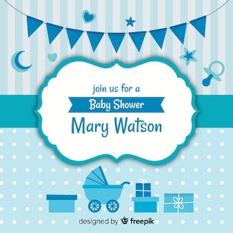 Diseño azul de baby shower para niño