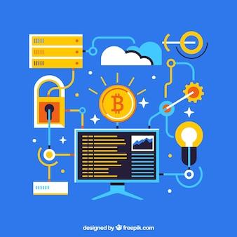 Diseño azul de bitcoin