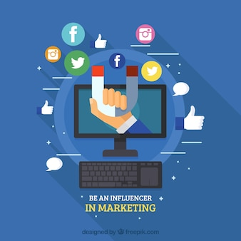 Diseño azul de influencer marketing