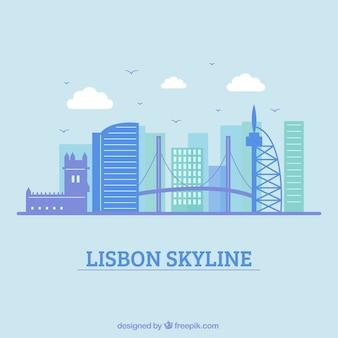 Diseño azul de la skyline de lisboa