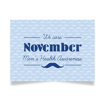 Diseño azul de tarjeta de movember