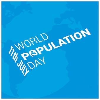 Diseño azul para el día mundial de la población con texto