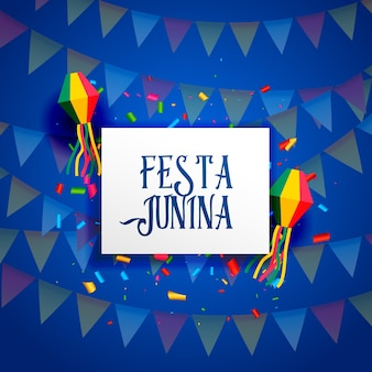 Diseño azul de festa junina con guirnaldas