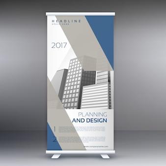 Diseño azul y gris de banner roll up