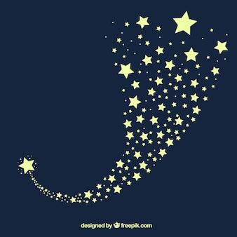 Diseño azul oscuro de fondo de estrellas fugaz