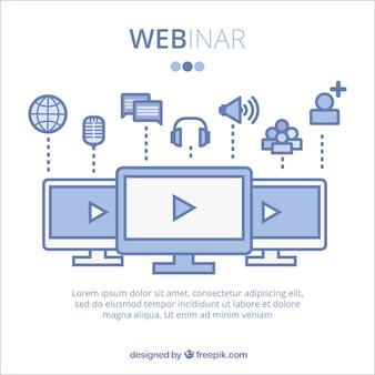 Diseño azul de webinar