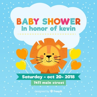Diseño de baby shower en estilo flat