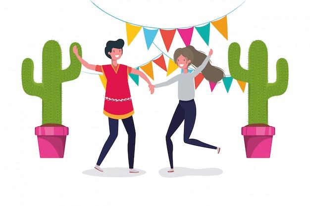 Diseño de baile de dibujos animados de hombre y mujer mexicana, hito de turismo de cultura de méxico tema latino y fiesta ilustración vectorial