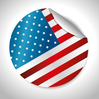 Diseño de bandera de etiqueta engomada redondeada de los estados unidos de américa