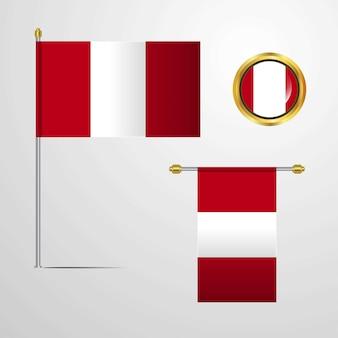 Diseño de bandera ondeando perú con vector insignia