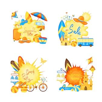 Diseño de la bandera del vector del tiempo de verano para el texto y los elementos coloridos de la playa en el fondo blanco.
