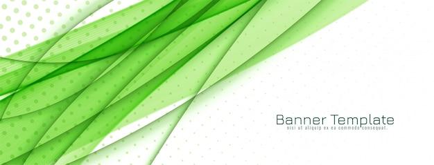 Diseño de banner abstracto elegante ola verde