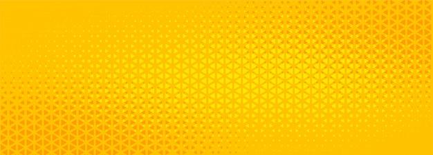 Diseño de banner abstracto de semitono triángulo amarillo brillante