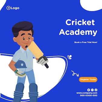 Diseño de banner de la academia de cricket en estilo de dibujos animados.