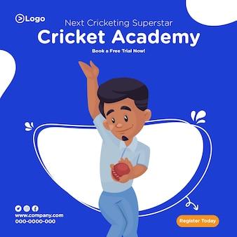 Diseño de banner de la academia de cricket.