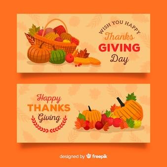 Diseño de banner de acción de gracias de verduras de otoño