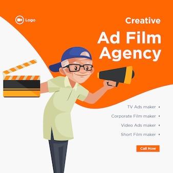 Diseño de banner de agencia de cine publicitario creativo.