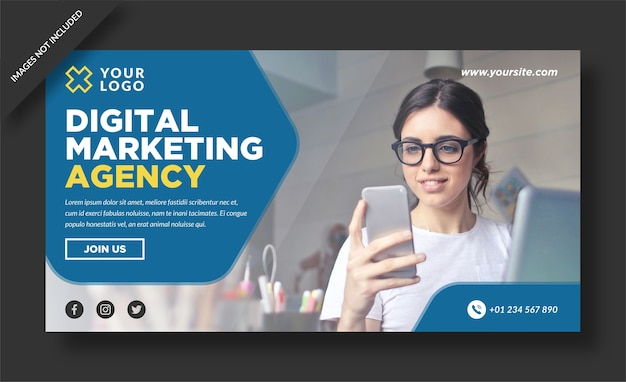 Diseño de banner de agencia de marketing digital.