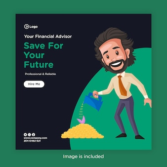 Diseño de banner de ahorre para su futuro con asesor financiero