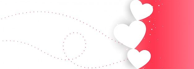 Diseño de banner de amor de san valentín rosa y blanco