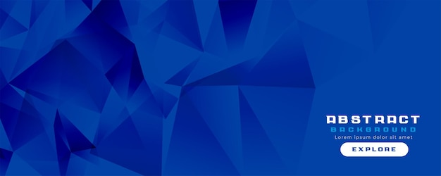 Diseño de banner ancho azul bajo poli
