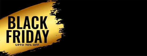 Diseño de banner ancho dorado de viernes negro