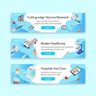 Diseño de banner de atención médica con hospital, médico y farmacia.