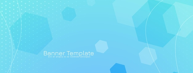 Diseño de banner azul geométrico de formas hexagonales abstractas
