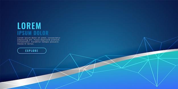 Diseño de banner azul con onda y malla de alambre