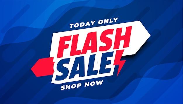 Diseño de banner azul de venta flash