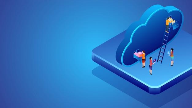 Diseño de banner basado en el concepto de almacenamiento en la nube.