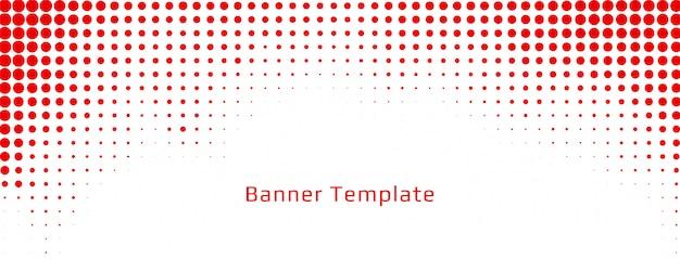 Diseño de banner blanco abstracto de semitono rojo