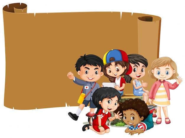 Diseño de banner en blanco con niños felices