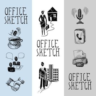 Diseño de banner de boceto de oficina