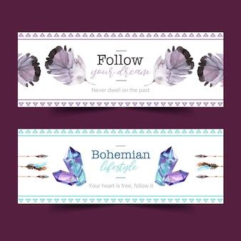 Diseño de banner bohemio con cristal, ilustración acuarela de plumas.