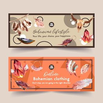 Diseño de banner bohemio con tocado de plumas, ilustración de acuarela de cristal.