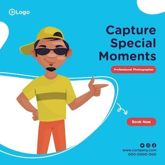 Diseño de banner de captura de momentos especiales fotógrafo profesional