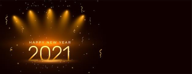 Diseño de banner de celebración de feliz año nuevo 2021 con confeti