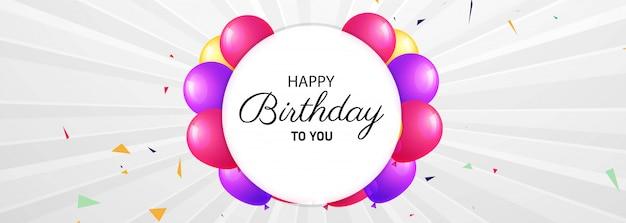 Diseño de banner de celebración de feliz cumpleaños