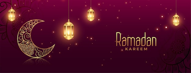 Diseño de banner de celebración islámica de ramadan kareem