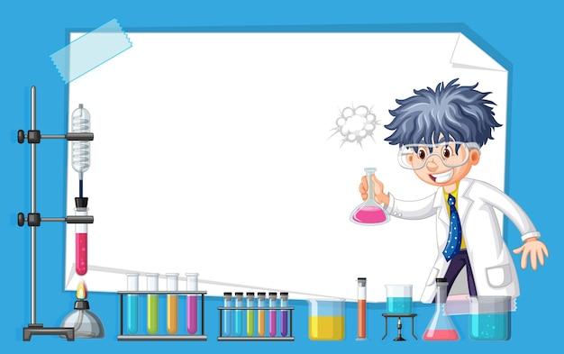 Diseño de banner con científico que trabaja en el laboratorio.