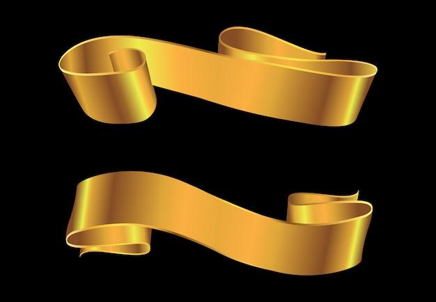 Diseño de banner de cinta dorada